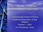 The STB, the Congress, and the Nation's Railroads