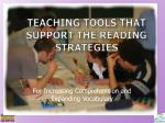 Teaching Tools that support the reading strategies