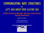 COMMUNICATING RATE STRUCTURES  or  LET'S TALK ABOUT YOUR ELECTRIC BILL