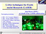 LASer techniques for Exotic nuclei Research (LASER)