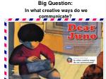 Big Question: In what creative ways do we communicate?