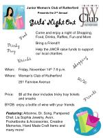 Junior Woman's Club of Rutherford Presents the 2 nd Annual Girls' Night Out