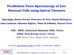 PicoNewton Force Spectroscopy of Live Neuronal Cells using Optical Tweezers