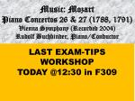 LAST EXAM-TIPS WORKSHOP  TODAY @12:30 in F309