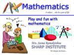 Play and fun with mathematics