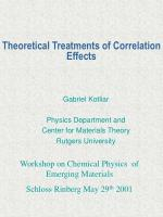 Theoretical Treatments of Correlation Effects