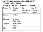 """AFTER QUIZ-MAKE A LOGBOOK ENTRY TITLED """"BEAN DEMO"""" COPY IN THE FOLLOWING DATA TABLE"""