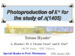 Photoproduction of K* for the study of L (1405)
