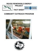 RGVSG RENEWABLE ENERGY PROJECT FACT SHEET COMMUNITY OUTREACH PROGRAM