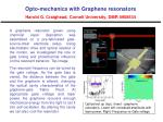 Opto-mechanics with Graphene resonators Harold G. Craighead, Cornell University, DMR 0908634