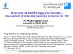 Overview of ASDEX Upgrade Results – Development of integrated operating scenarios for ITER