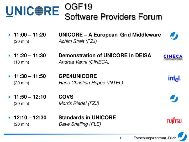 PPT - 11:00 – 11:20 UNICORE – A European Grid Middleware (20