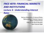 FNCE 4070: FINANCIAL MARKETS AND INSTITUTIONS Lecture 3: Understanding Interest Rates