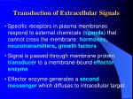 Transduction of Extracellular Signals