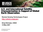 U.S. and International Satellite Characterization in Support of Global Earth Observation