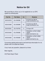 Notice for Oil We would like to inform you of oil registered on our EPC system as official parts.