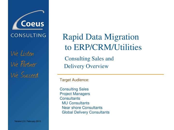 rapid data migration to erp crm utilities consulting sales and delivery overview n.