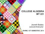 COLLEGE ALGEBRA MT 221