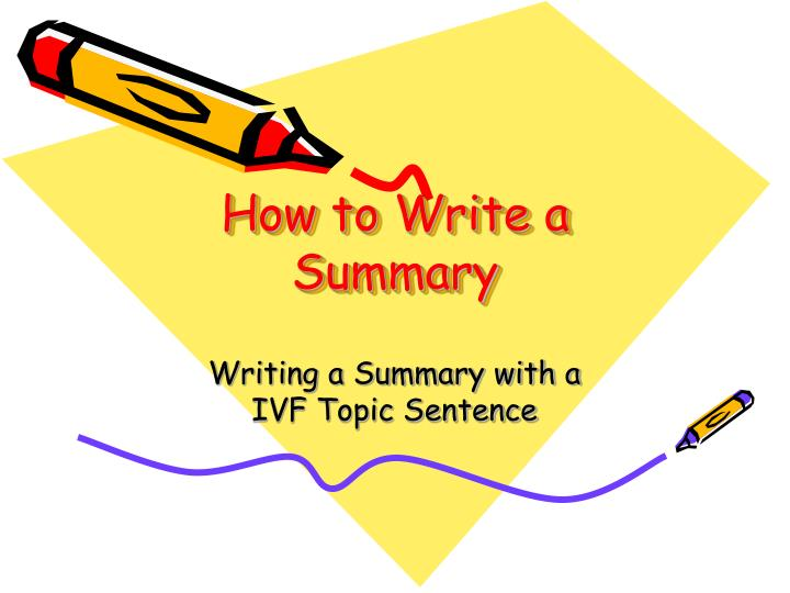 how to write a summary n.