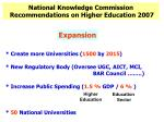 National Knowledge Commission Recommendations on Higher Education 2007