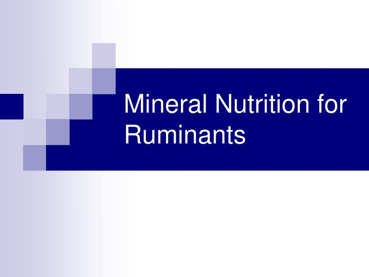 mineral nutrition for ruminants n.