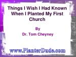 Things I Wish I Had Known When I Planted My First Church