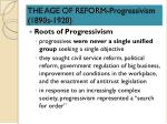 THE AGE OF REFORM-Progressivism (1890s-1920)