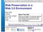 Web Preservation in a Web 2.0 Environment