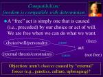 Compatibilism: freedom is compatible with determinism