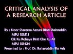 CRITICAL ANALYSIS OF A RESEARCH ARTICLE