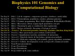 Biophysics 101 Genomics and Computational Biology
