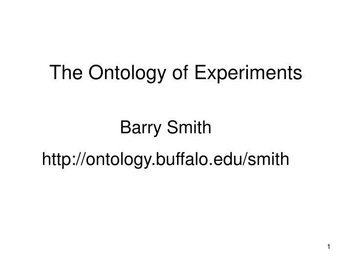 the ontology of experiments n.