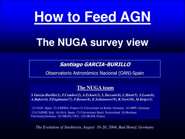 how to feed agn the nuga survey view n.
