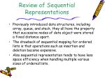 Review of Sequential Representations
