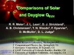 Comparisons of Solar  and Dayglow Q EUV