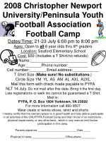 2008 Christopher Newport University/Peninsula Youth Football Association Football Camp