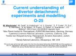 Current understanding of divertor detachment: experiments and modelling O-25