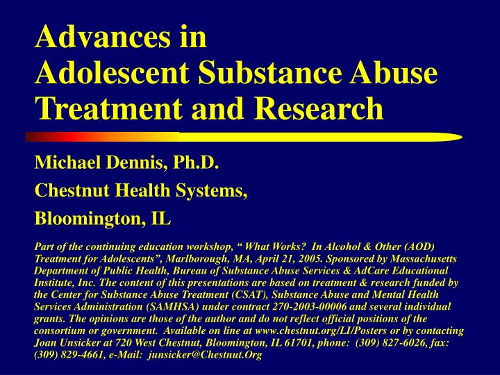 advances in adolescent substance abuse treatment and research n.