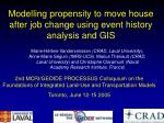 Modelling propensity to move house after job change using event history analysis and GIS