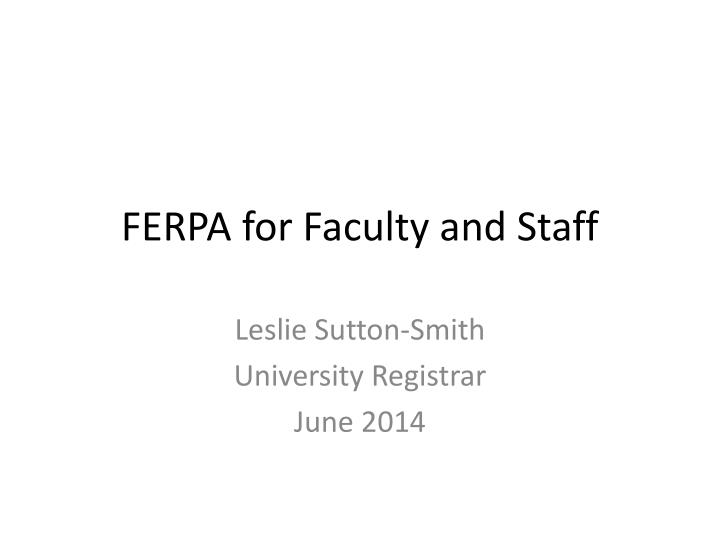 ferpa for faculty and staff n.
