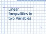 L inear  Inequalities in  two  Variables