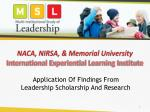 NACA, NIRSA, & Memorial University International Experiential Learning Institute
