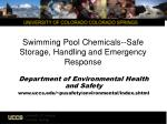 Swimming Pool Chemicals--Safe Storage, Handling and Emergency Response