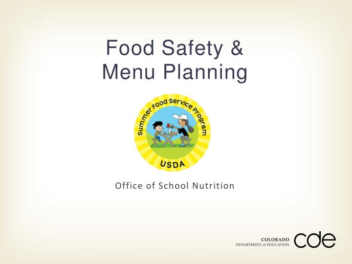 food safety menu planning n.