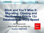 Blink and You'll Miss It: Migrating, Cloning and Recovering Oracle 12 c Databases At Warp Speed