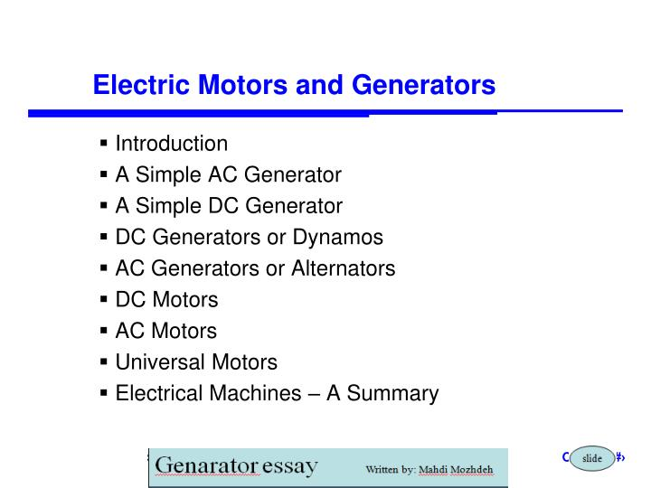 electric motors and generators n.