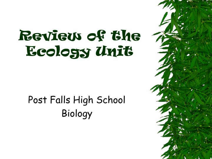 review of the ecology unit n.