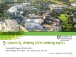Scholarly Writing (APA Writing Style)