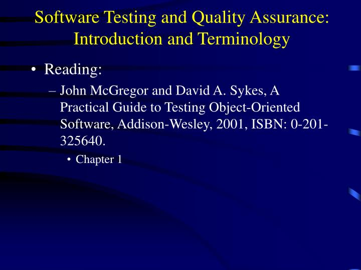 software testing and quality assurance introduction and terminology n.