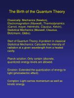 The Birth of the Quantum Theory